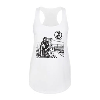 BRIDGE - Ladies Racerback Tank Top - White Thumbnail