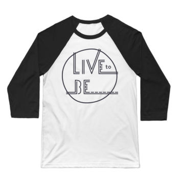 LIVE TO BE Black Outline - 3/4 Sleeve Baseball T-shirt - White/Black Thumbnail