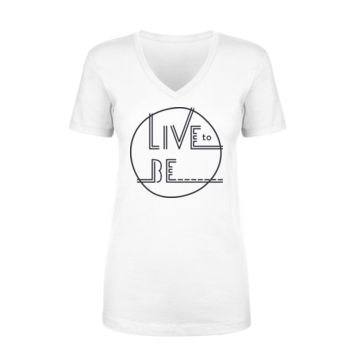 LIVE TO BE White Outline - Ladies Short Sleeve V-Neck T-shirt - White Thumbnail