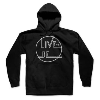 LIVE TO BE White Outline - Hooded Pullover Sweatshirt - Black Thumbnail